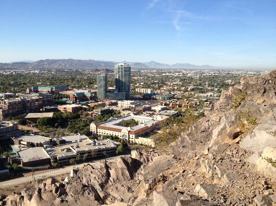 "Tempe Mission Palms: view of the hotel from Hayden Butte (hotel is the big rectangular ""O"" in the middle of the photo"