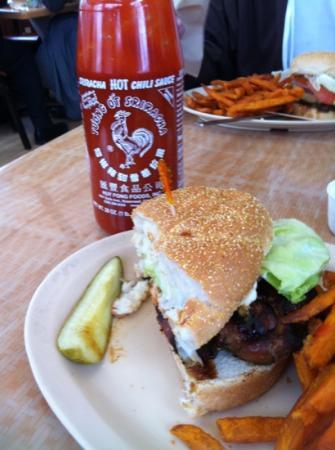 Aloha Island Grille: chicken teriyaki burger w/sweet potato fries