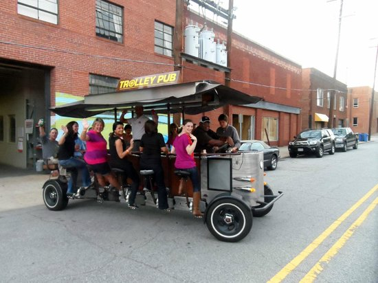 Raleigh, NC: The Trolley Pub pulling out of the storage location