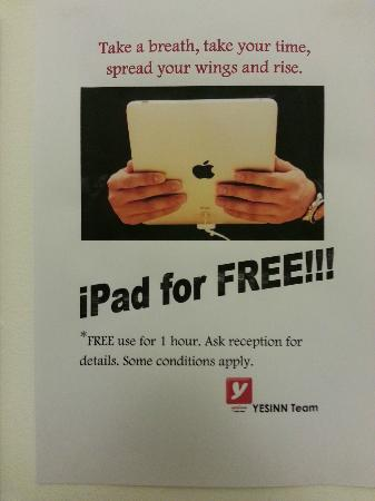 Yesinn Hostel Fortress Hill: free iPad use