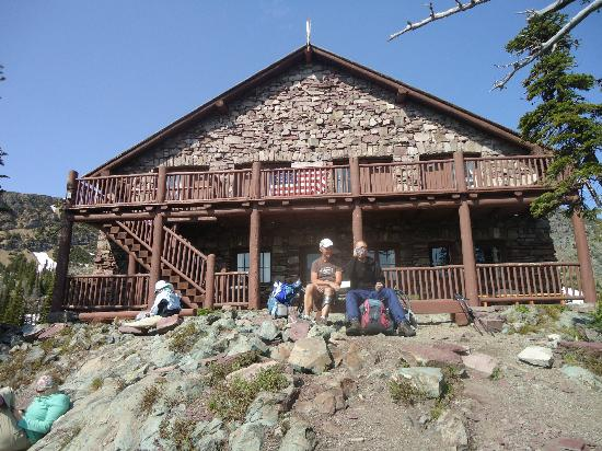 Granite Park Chalet: enjoying the afternoon in front of the chalet