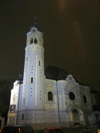 Bratislava, Slovakia: Church of St. Elisabeth at night
