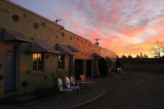 Blue Swallow Motel: New Mexico sunrise bathes the walls in a lovely pink glow.