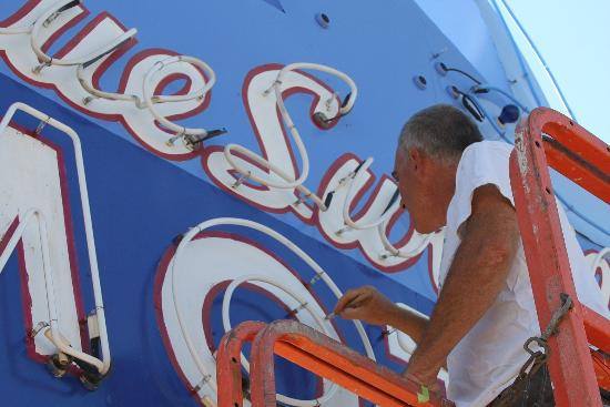 Blue Swallow Motel: Owner Kevin worked to keep the iconic neon sign looking great.