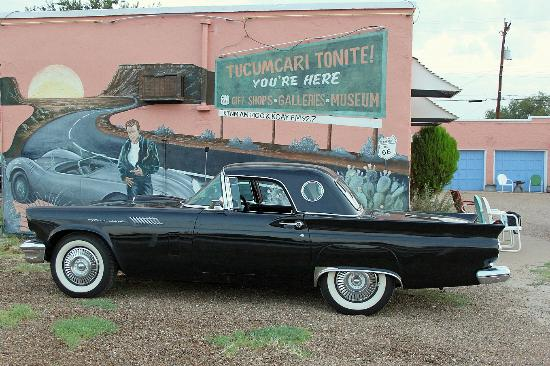 Blue Swallow Motel: James Dean admires this '57 T-Bird from his place on the wall.