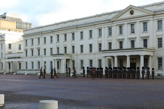 New recruits drilling outside Wellington Barracks (Near to The Goring Hotel)