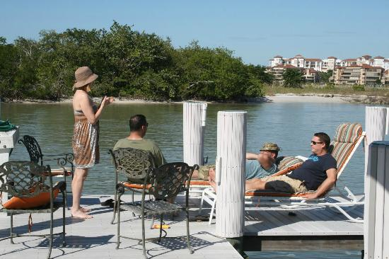 The Boat House Motel: Relaxing on the deck