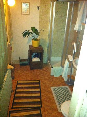 Hotel Vendome: salle de bain dont la porte d'entrée donne directement dehors