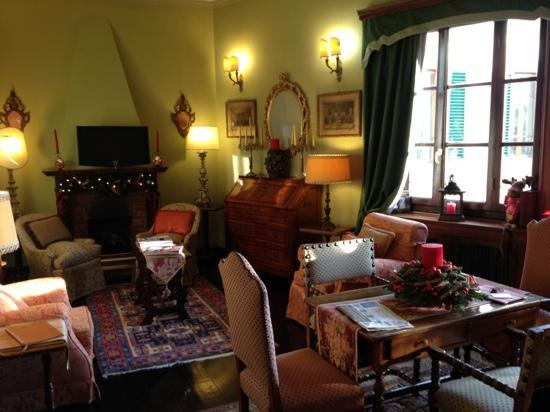 Hotel Hermitage: la salon, côté cheminée
