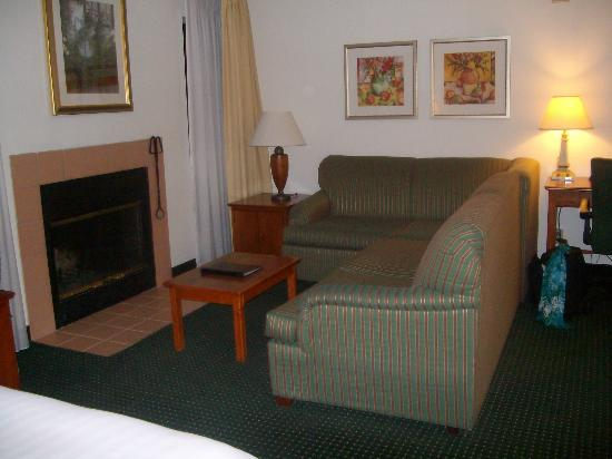 Sonesta ES Suites Flagstaff: Living area of fireplace studio suite