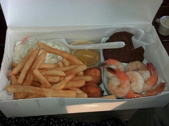Star Fish Company Dockside Restaurant: shrimp, crab cake, slaw, hush puppies and fries