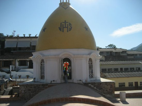 The Church of Our Lady of Guadalupe: Walking to the yellow dome- we are on the roof of Guadalupe Cathedral.