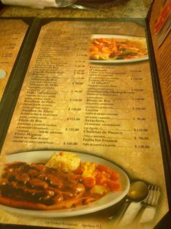 Apodaca, Mexico: Menú del restaurante