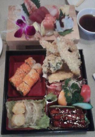 Sagano: Lunch Bento Box and Sashimi plate