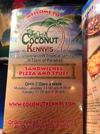 Coconut Kenny's: menu