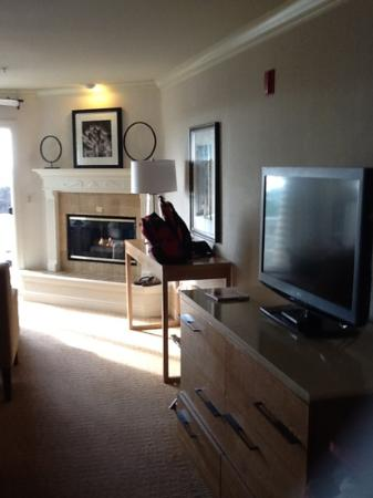 Pelican Inn & Suites: flatscreen tv & Fireplace.