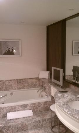 Loews Hotel Vogue: The BIG bathroom (with TV)