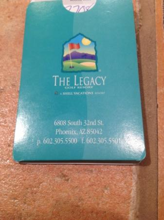 Legacy Golf Resort: key packet