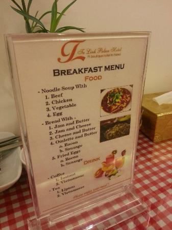 Tu Linh Palace Hotel: breakfast menu