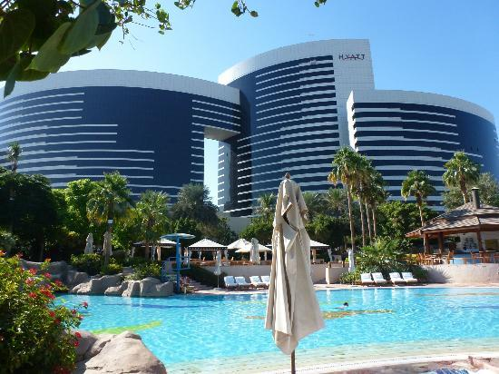 Hotel from pool area picture of grand hyatt dubai dubai for Nice hotels in dubai