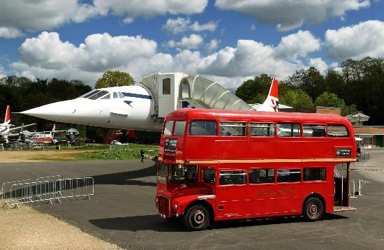 Weybridge, UK: Our 1959 Routemaster alongside another British icon - Concorde