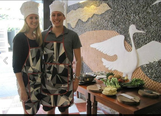 Pineapple Cooking Centre: The wife and I dressed up for our cooking class.