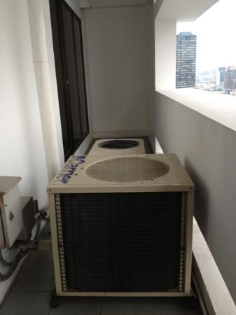 Centre Point Hotel Silom: two gigantic noisy a/c units on balcony