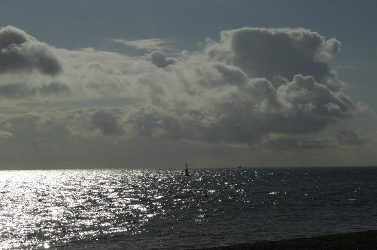 Beach on Dungeness and English Channel