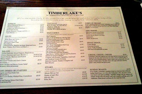 Timberlake's Bistro: menu'