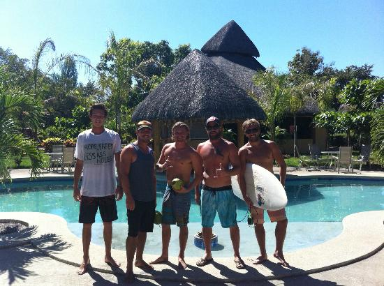 Happy group of Surfers at the Marbella Surf Inn pool.