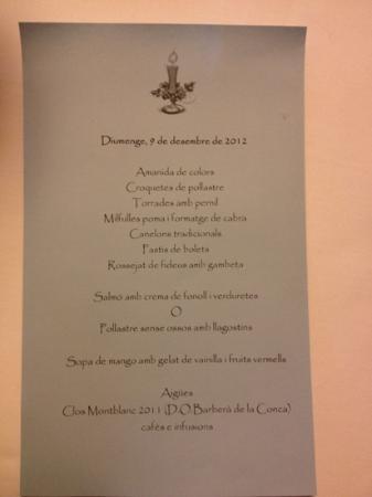 Restaurant Marangels: Menu 30 euros celebración familiar