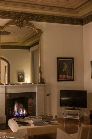 One Royal Circus: Drawing room fire place and TV on arrival