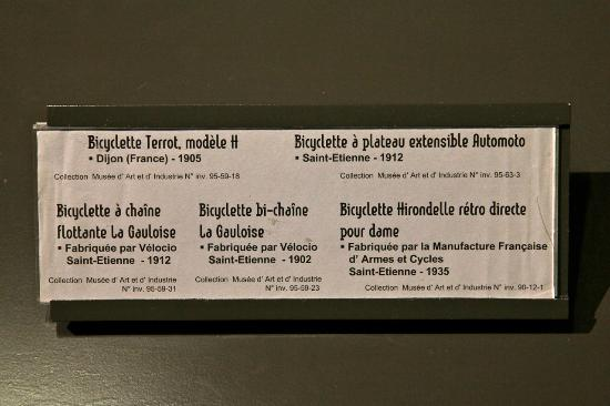Musee d'Art et d'Industrie : Bikes explained, in brief here, but more in-depth descriptions abound.