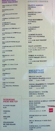 Acqua Pazza : Breakfast menu