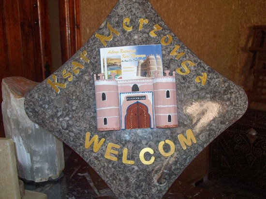 Hotel Ksar Merzouga:                   Welcome sign
