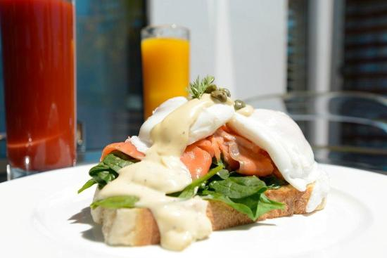 The Sails Nelson: Salmon Benedict from our Breakfast menu