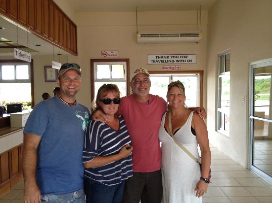 Caribbean Shores Bed & Breakfast: Paul (the birthday boy), Cindy and Joe (middl), and me, Erin far right at departure from Dandgri