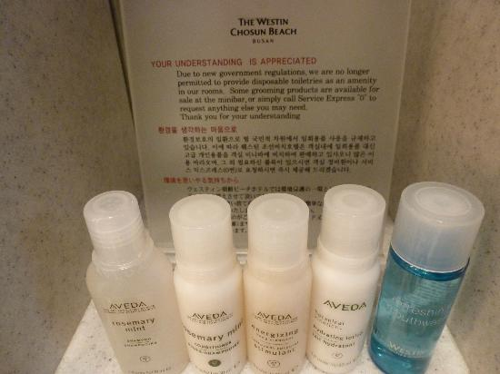 The Westin Chosun Busan : government regulations won't let them provide toiletries