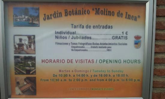 Jardin Botanico Molino de Inca: Tarifa y Horario