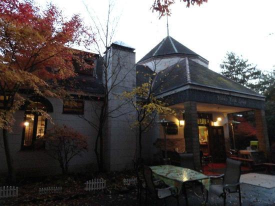 Reception and smoke area of Nikko Park Lodge