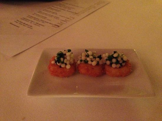 Dining Room: Potato fritter with caviar and chive
