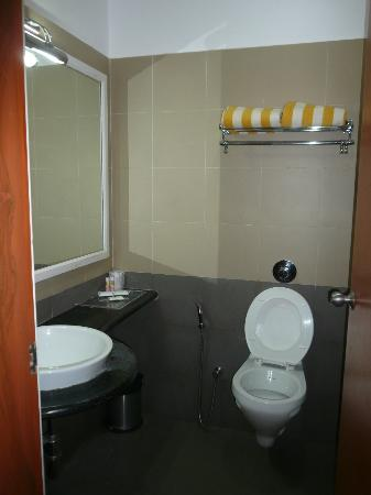 Leonia Holistic Destination: bathroom with the towel rack placed unerringly in the wrong place!