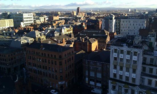 The Light ApartHotel: View of Manchester from the balcony, 11th floor.