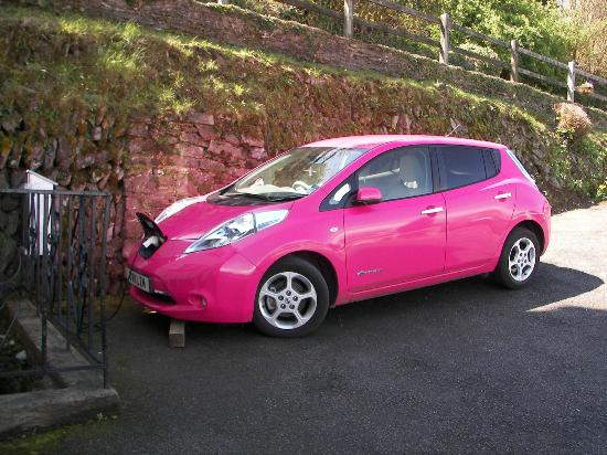 Sinai House: Electric car being charged with our charger