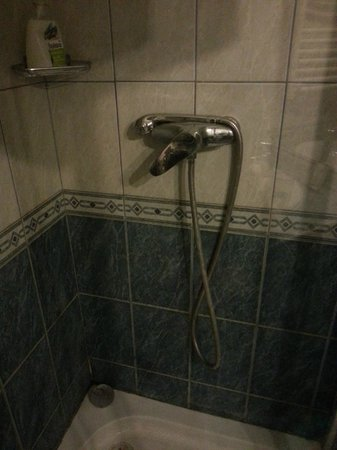 Old Monarchia Hotel: The shower was broken (pipe was leaking) and could not be fixed to the overhead mounting