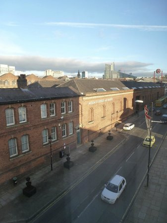 Castlefield Hotel: view from room onto Liverpool rd / Museum of Science & Industry