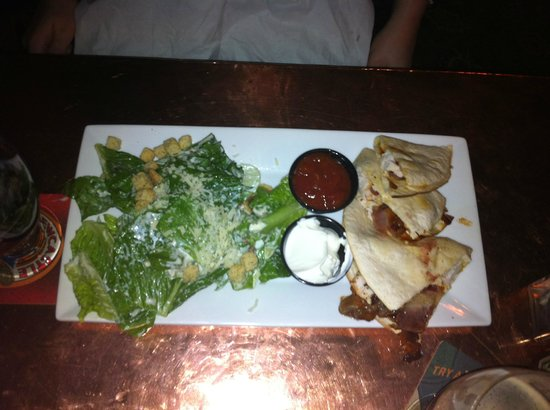 The Goose & Gridiron: Chicken & bacon quesadilla w/ Caesar salad