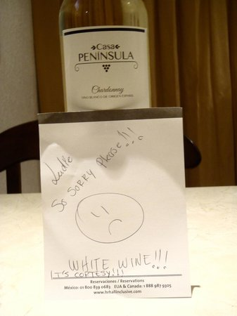 Heaven at the Hard Rock Hotel Riviera Maya: No bottle of wine in the room upon check in, this is the note we get when they finally send a bo