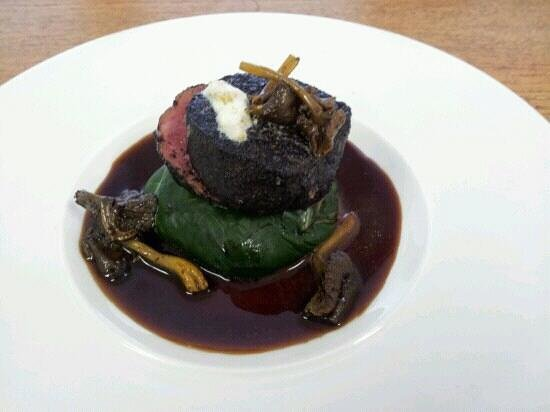 The Brasserie on the Bay: Fillet of Beef, rolled in ash, wild mushroom and meadow grass - absolutely exquisite