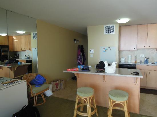 Sugar Beach Resort: kitchen, hall from living froom - unit 413